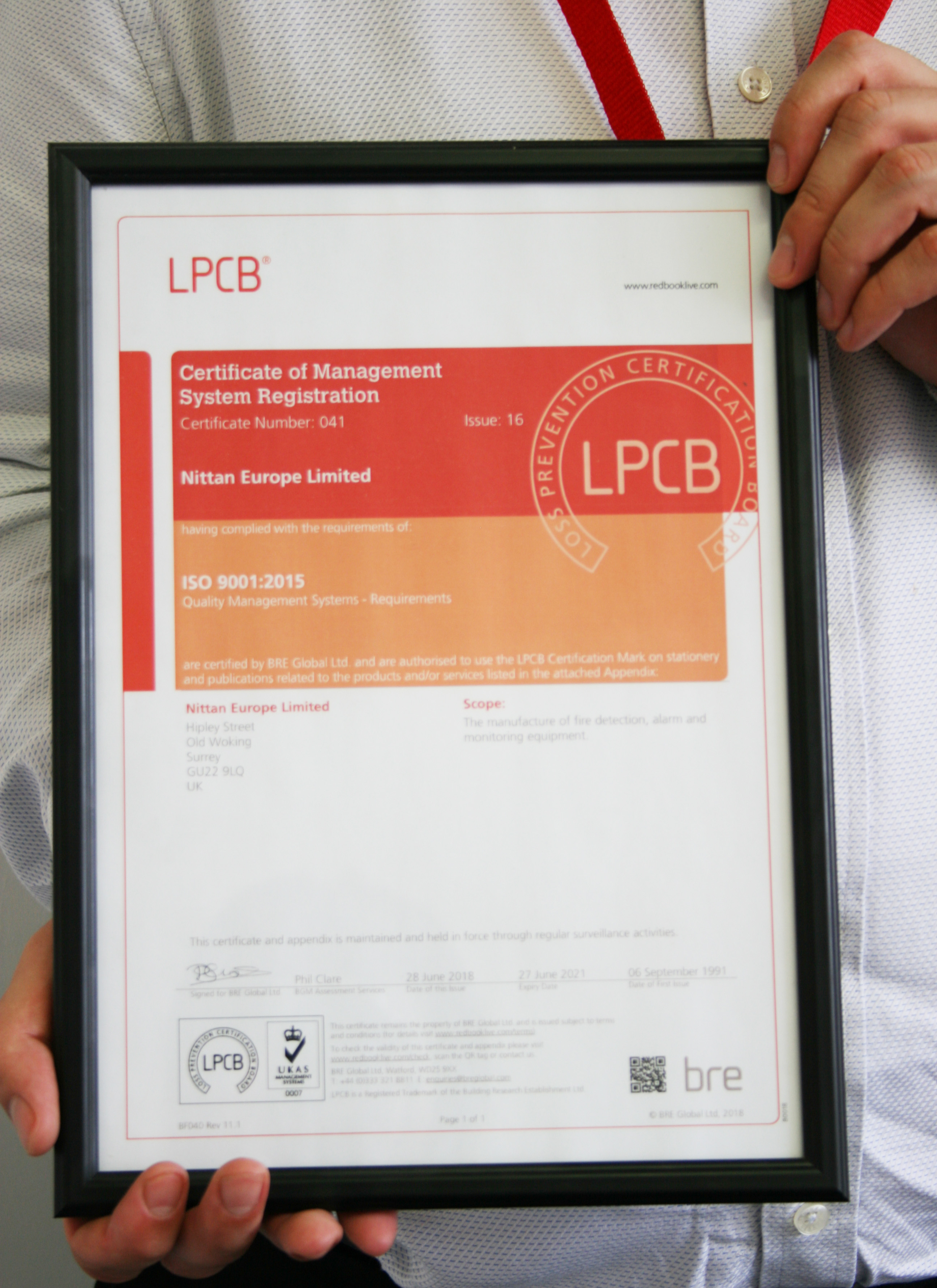 Nittan Awarded ISO 9001:2015 For High Quality Performance