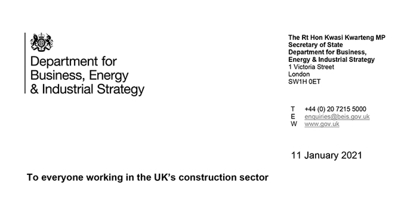 Letter to the construction sector from the Business Secretary